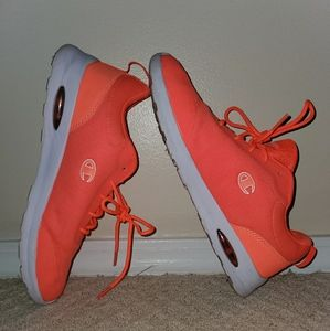 Neon Coral Champion Tennis Shoes